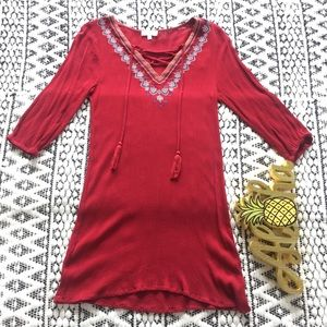 Umgee Red Long Sleeve Tunic w Embroidered Details